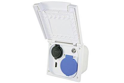 Multifunkcijska zunanja vtičnica z dvojnim USB / HDM / 230 V / Sat, bela