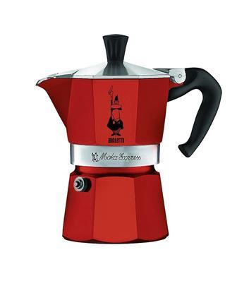 Kuhalnik za espresso iz aluminija, rdeč