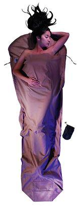 Lahka spalna vreča oblika mumije, 241 x 90/56 cm kaki, egipčanski bombaž