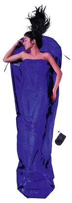 Lahka potovalna spalna vreča, oblika mumije, 241 x 90/56 cm svila Ultramarine Blue