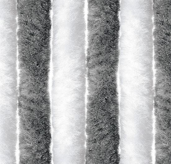 Super mehka zavesa za vhodna vrata, siva/bela